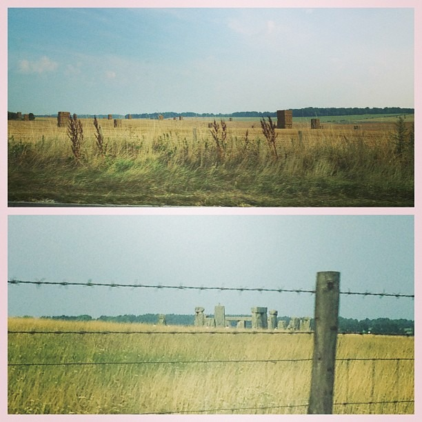 We drove the wrong way on the way to the gig. One side of the road and the other. #aliens #stonehenge #haybails