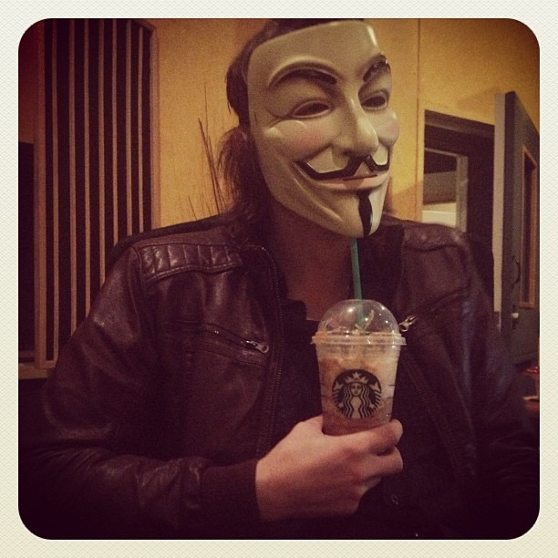 #anonymous #vforbendetta #starbucks #corporatebitch #idontknowwhatthismeansbutitlooksmeaningful #governmentshutdown