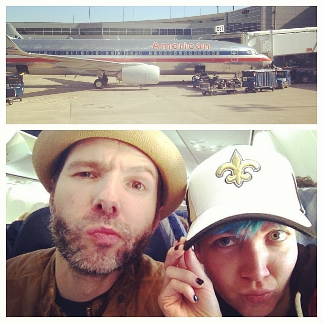 First #AmericanAirline crew from #LA to #Dallas were all mean dragon ladies… This crew is awesome.. Prob bc we are going to #Mexico !!!!!! #whodat #honeymoon @wellhungheart