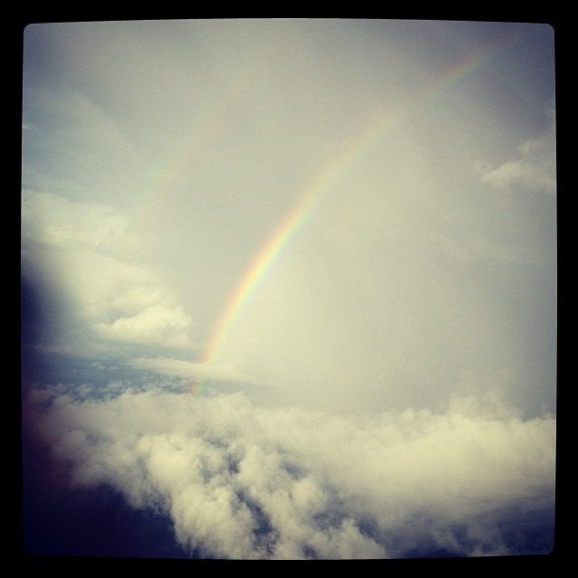 So after a stressful and fun week, this was the view from the plane over Cancun . #everythingisok #labuenavida #rainbow