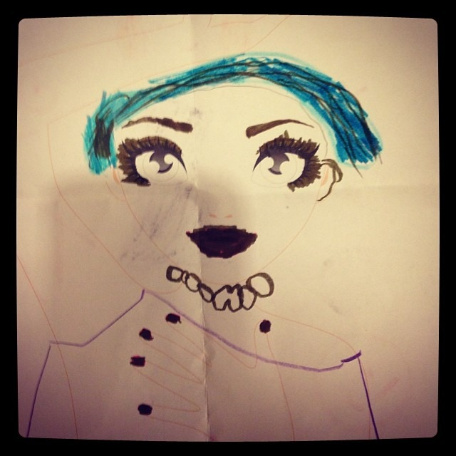 I was drawn as a #princess from little fan Lizzie! #lovelovelove #bluehair