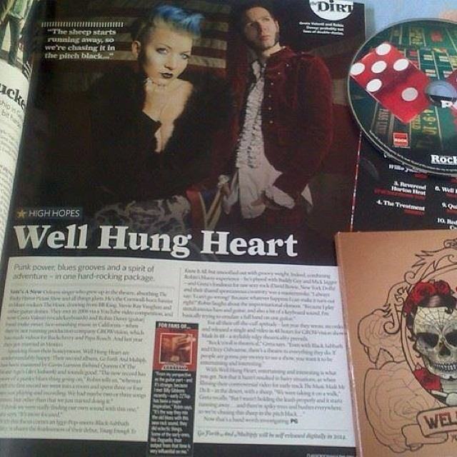 Lookie lookie!!! @WellHungHeart are featured in @ClassicRockMag March 2014 Issue AND have a song on the cover disc!!!!!! #fuckingawesome #thanksforthechance