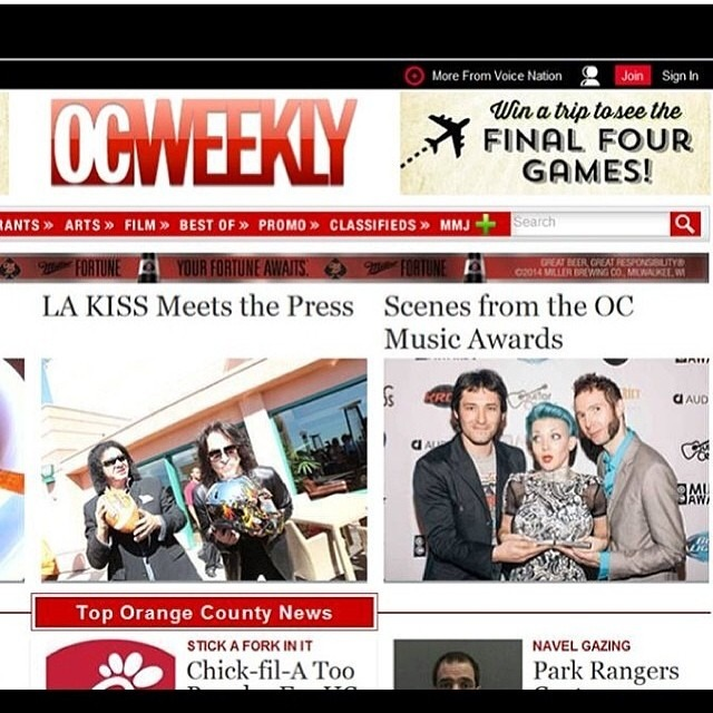 @WellHungHeart on the front page of @ocweekly today showing off my #trophies ;) haha. @ocmusicawards @gretavalenti #ladiesnight #boobies #winning
