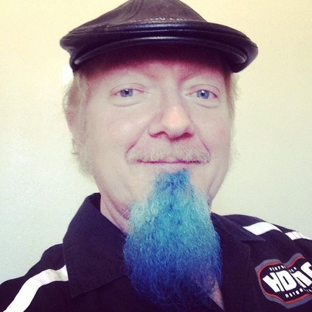 My dad. See ya'll the blue is all natural! #matchesthedrapes #bluegoat #allinthefamily