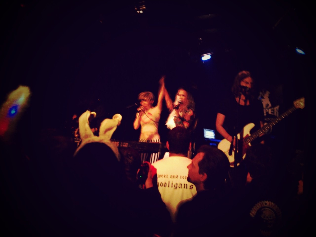 Greta onstage with gram rabbit at the viper room