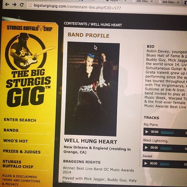 Go vote for us @WellHungHeart to win the gig of a lifetime to play Sturgis! Vote for us 5 times per day at:  http://bit.ly/1jWB6Ou  !!!!!  #legendarybuffalochip #wellhungheart