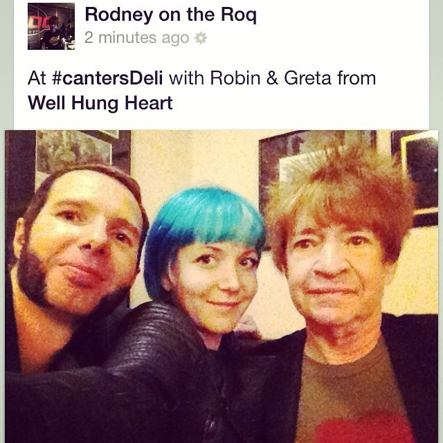 #this just happened! Got to meet radio legend #RodneyOnTheRoq from @kroq at his spot at #cantersdeli . Uber nice!! Thanks so much Rodney for playing @wellhungheart #bigplans on your sunday show on @kroq !! #dreamscometrue #rocknroll