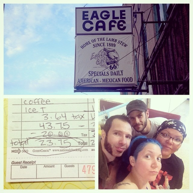 Thanks so much to Nitasha Manning at the #EagleCafe !! We randomly dined there bc of good Yelp reviews and made some new friends in #Gallop #newmexico !! You guys are awesome!! We hope to come back and play for you guys!! Xo