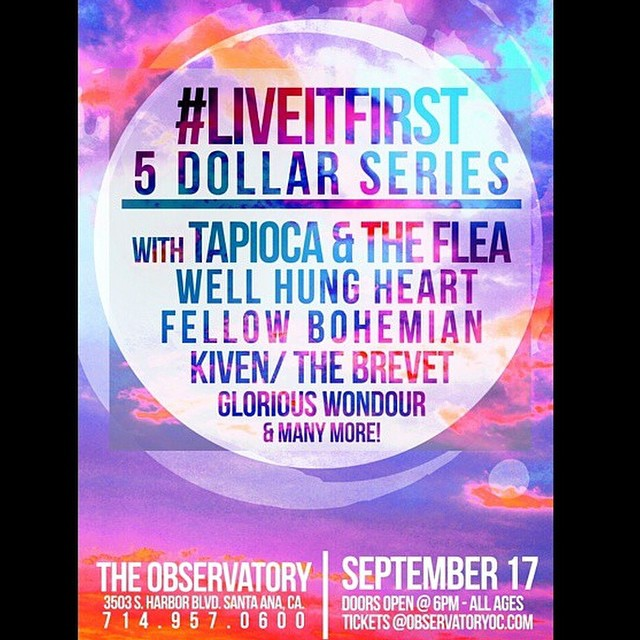 TONIGHT // $5 with uh-mazing bands! TheObservatory // ALL AGES! We play around 9pm but come at 7 and see @KivenMusic , @fellowbohemian @tapiocaandtheflea and more
