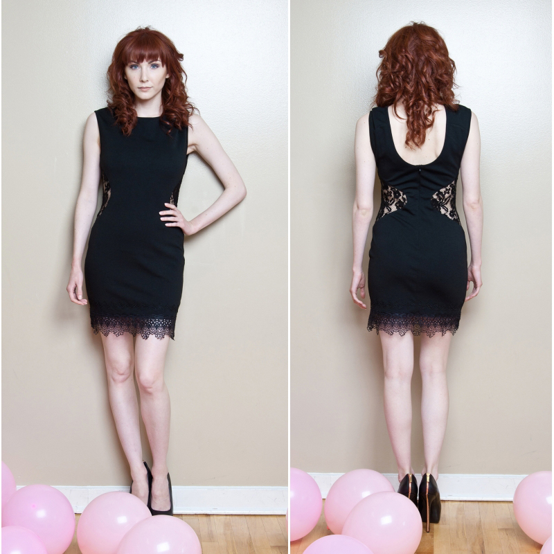 Pink Martini black swan dress lace