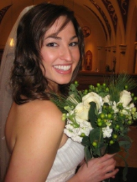 Holly on her wedding day, flashing those pearly whites!