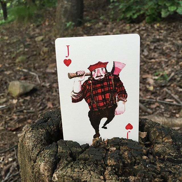 Cutting decks, cutting logs.. The lumber Jack of hearts. Find him and 53 other punny cards inside the daily critter deck. Link in bio. #playingcards #puns #wordplay #lumberjack #jackofhearts #watercolor #bicyclepaper #unitedstatesplayingcardcompany