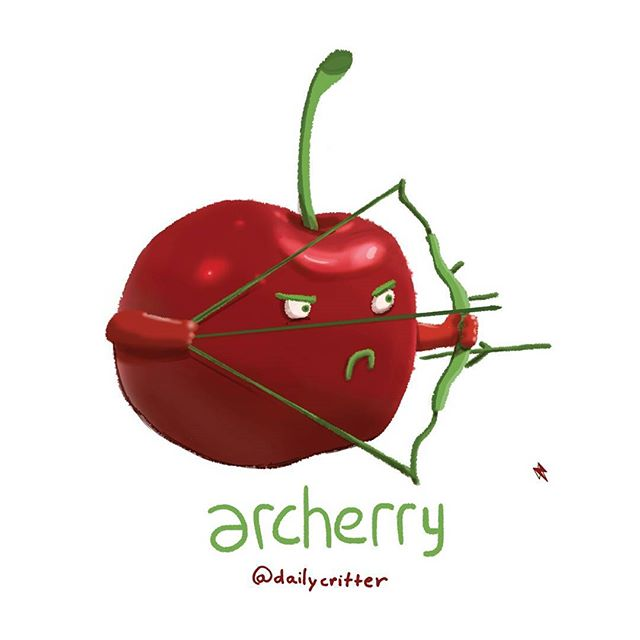 I'm your ch-ch-ch-ch-ch-cherry bowman! #archery #cherry #bow #arrow #olympics #rio #rio2016 #fruits #wordplay #puns #dailycritter #playingcards #illustration #punny