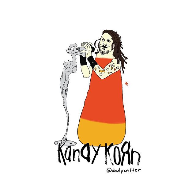 Feeling like candy on a leash...Boom na da mmm dum na ema  Da boom na da mmm dum na ema go! #korn #candy #candycorn #halloween #puns #wordplay #freakonaleash #rock #nostalgia #playingcards