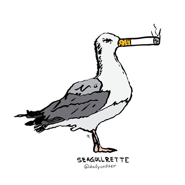 You are what you eat. The Seagullrette. #cigarrete #seagull #characterdesign #puns #playingcards #dailycritter
