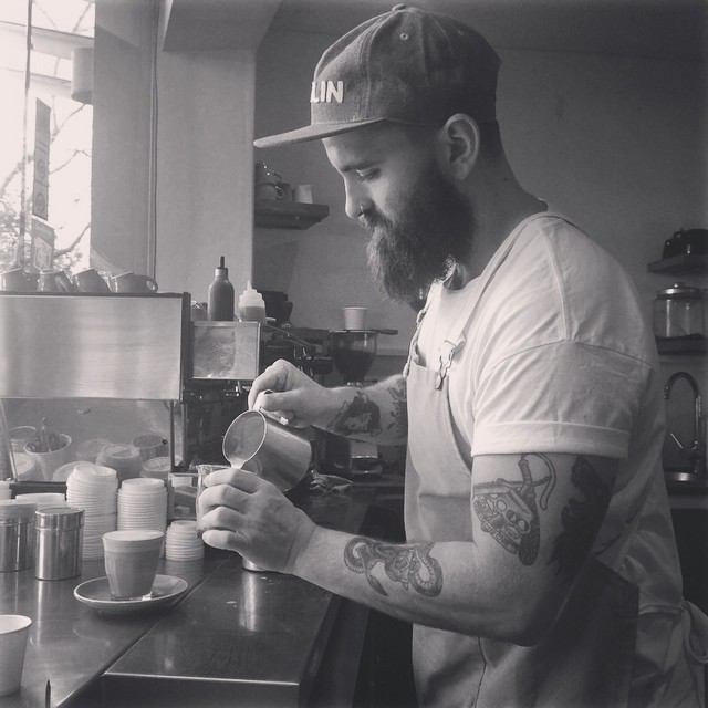 Resident Barista John hard at work #coffeeup #postono19 #afternoondelight #pickmeup #littlemarionette