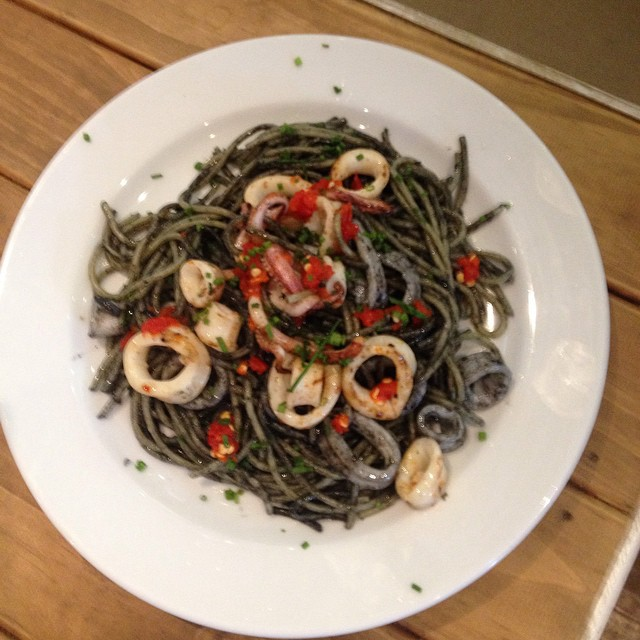 Squid ink pasta with chili squid  All week at Posto