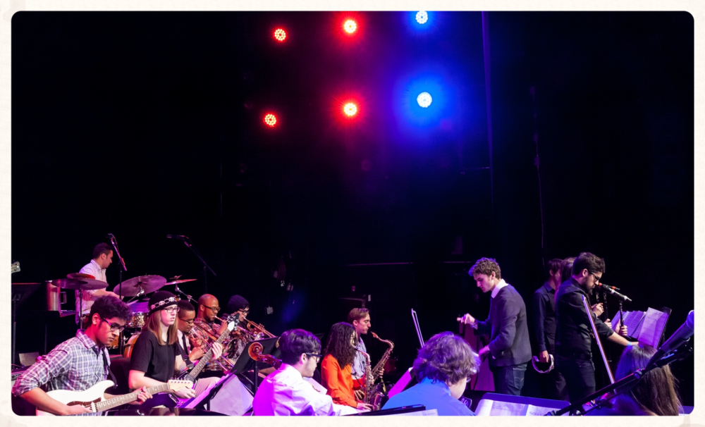 Conducting an arrangement at a show in the Berklee Performance Center, Boston.  (March 2014)