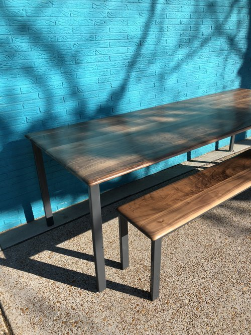Custom Walnut Table And Bench With Welded Frame Yellowtree - Welded coffee table