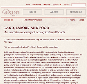 - Land, Labour and Food, Laura Fisher, AXON Journal, November 2016