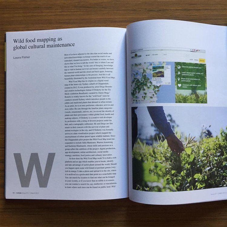 - Wild Food Mapping as Global Cultural Maintenance, Laura Fisher, Artlink Magazine, March 2017
