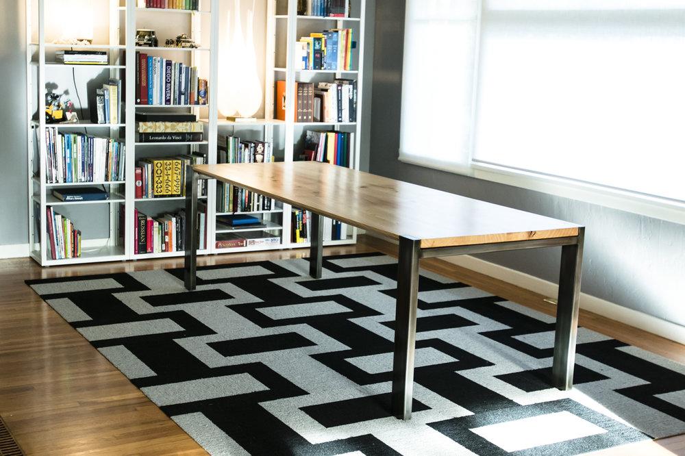 U0027Hudsonu0027 Ash Slab Dining Table // Tapered Edge Profile // Exposed Corner  Steel Frame