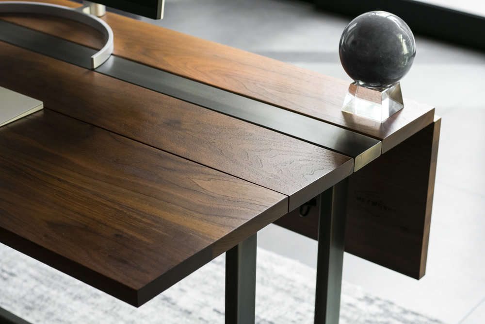 Walnut and Steel Drop Down Expandable Desk.jpg