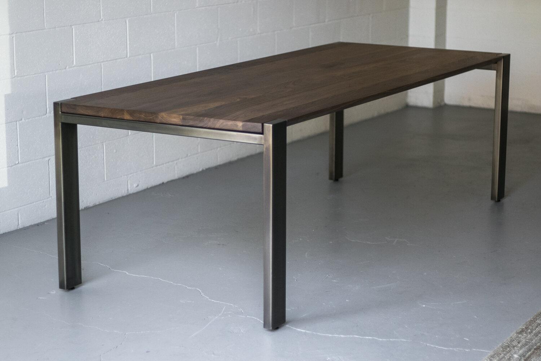 Mez works furniture hudson walnut dining table beveled edge profile steel frame