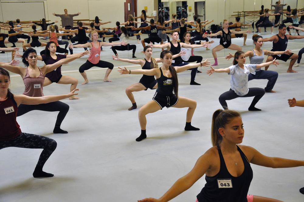 Intensive students warming up in the Day 1 Placement Class.  Photo © Taryn Ka'iulani