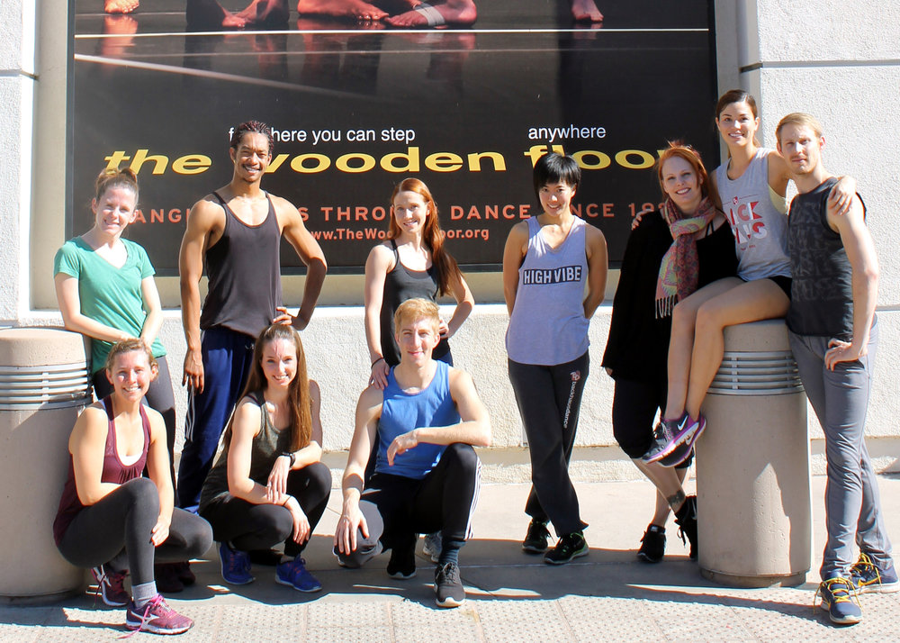 #BDSeason14 dancers striking a pose in front of The Wooden Floor.