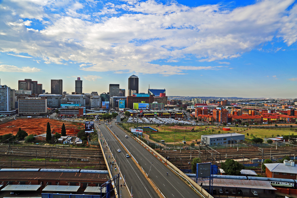 The view from our apartment in Braamfontein, Johhanesburg. (Downtown)