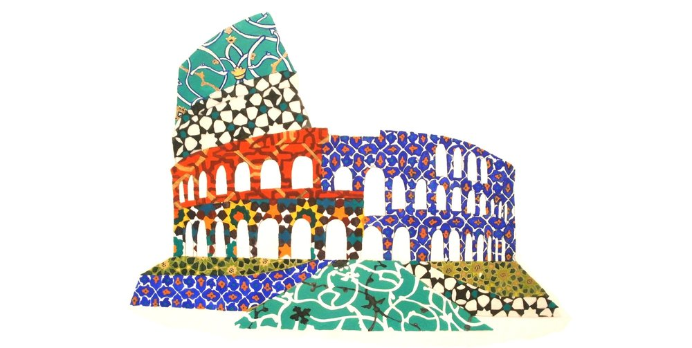 Colosseum, 2012, egg tempera on frosted mylar, 18 x 24 inches, Private Collection.
