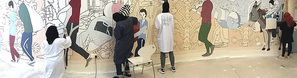 College of Arts and Creative Enterprises students participate in an egg tempera workshop and assist in painting Nimrud on Abu Dhabi campus.
