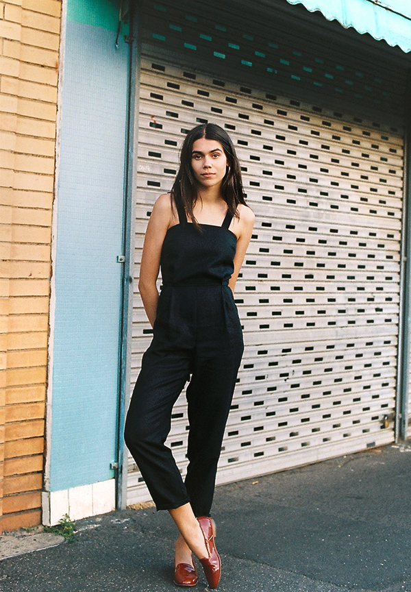 Jumpsuit black spaghetti strap linen loose Gingerly Witty