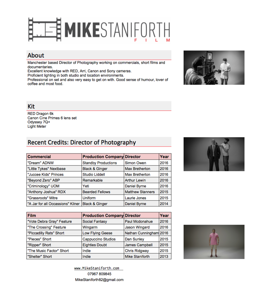 Mike Staniforth CV Cinematographer Manchester