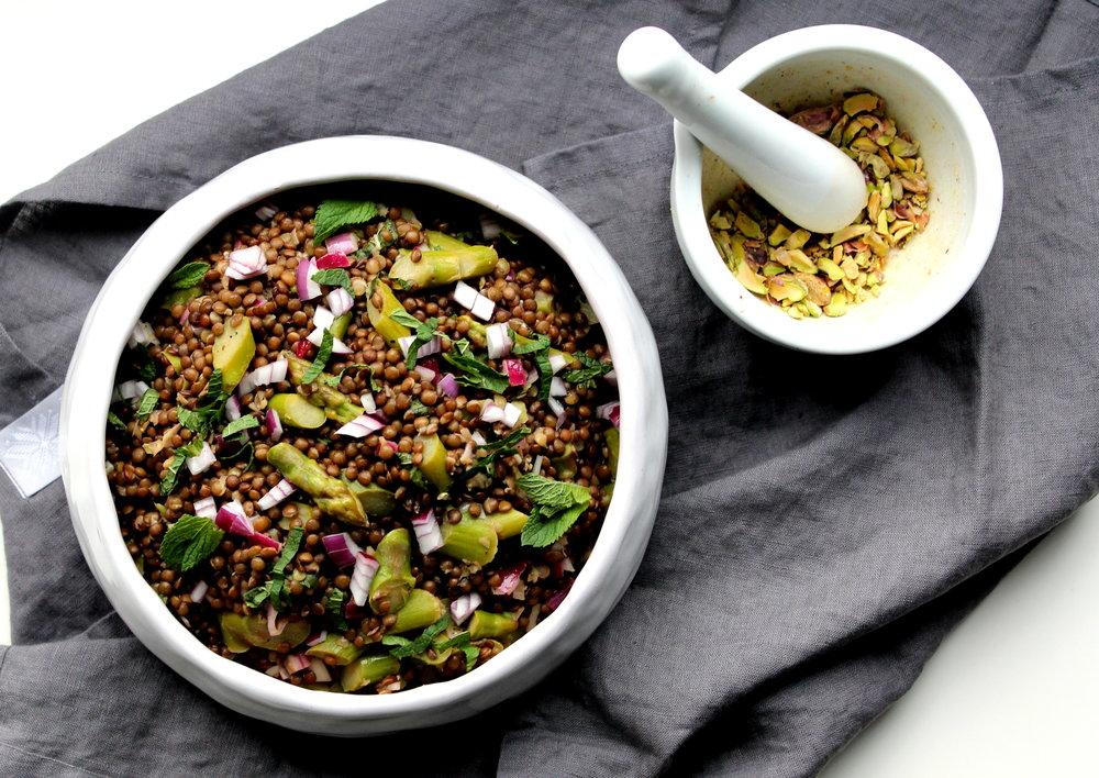 Asparagus Pistachio Lentil Salad
