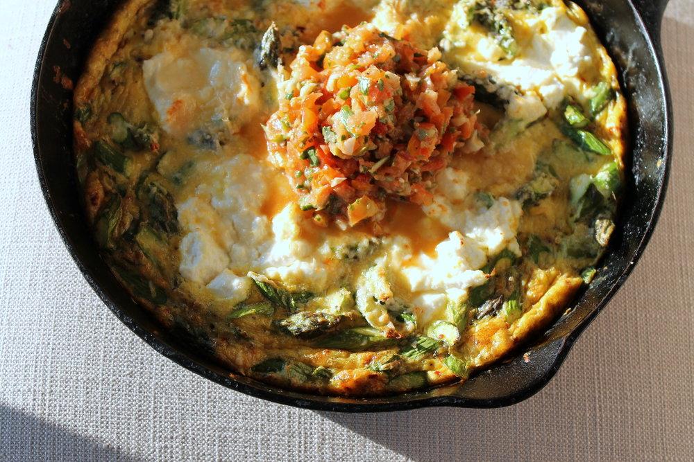 Ricotta Asparagus Baked Omelet