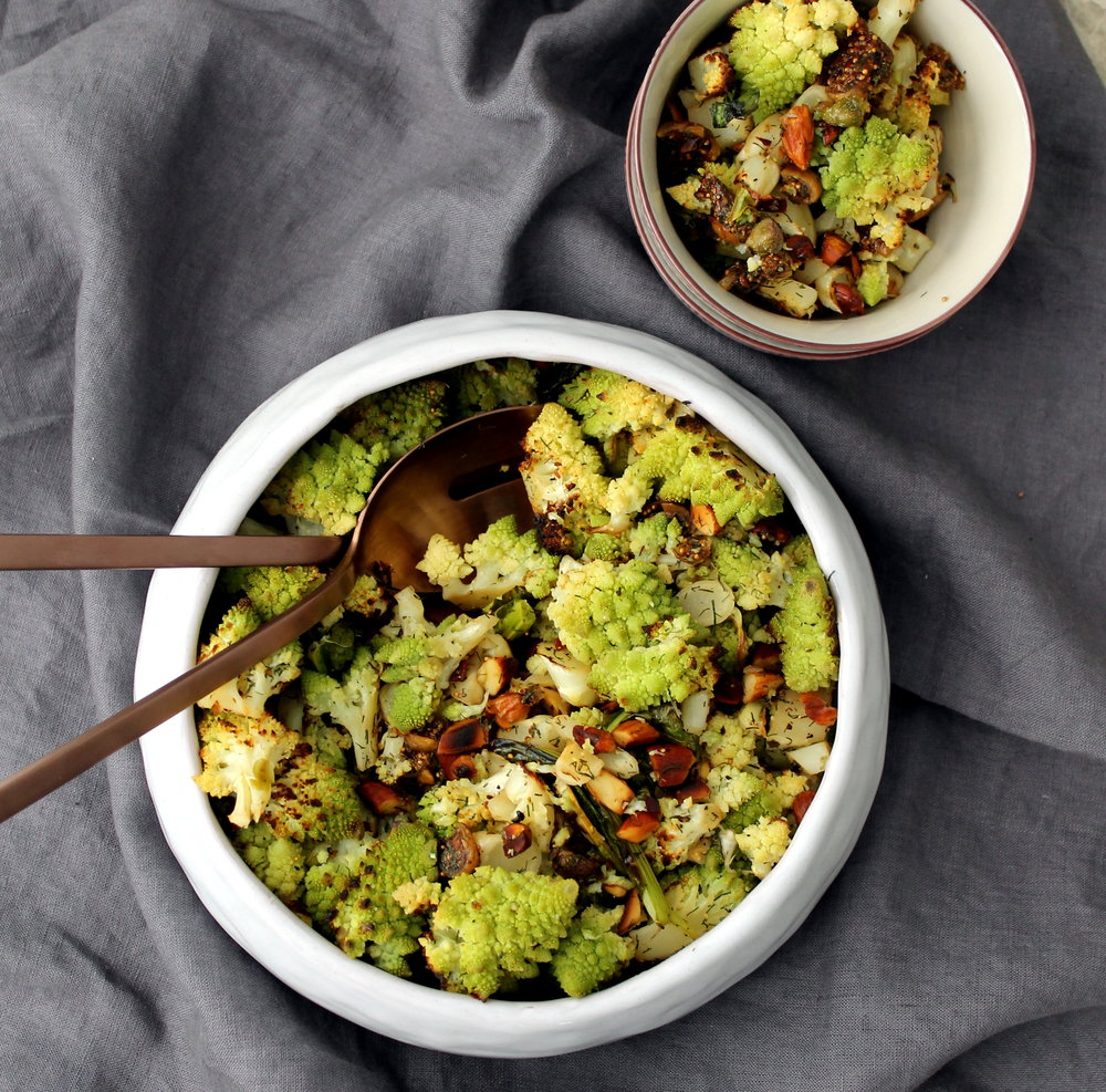 Roasted Romanesco with Almond, Caper, and Dill