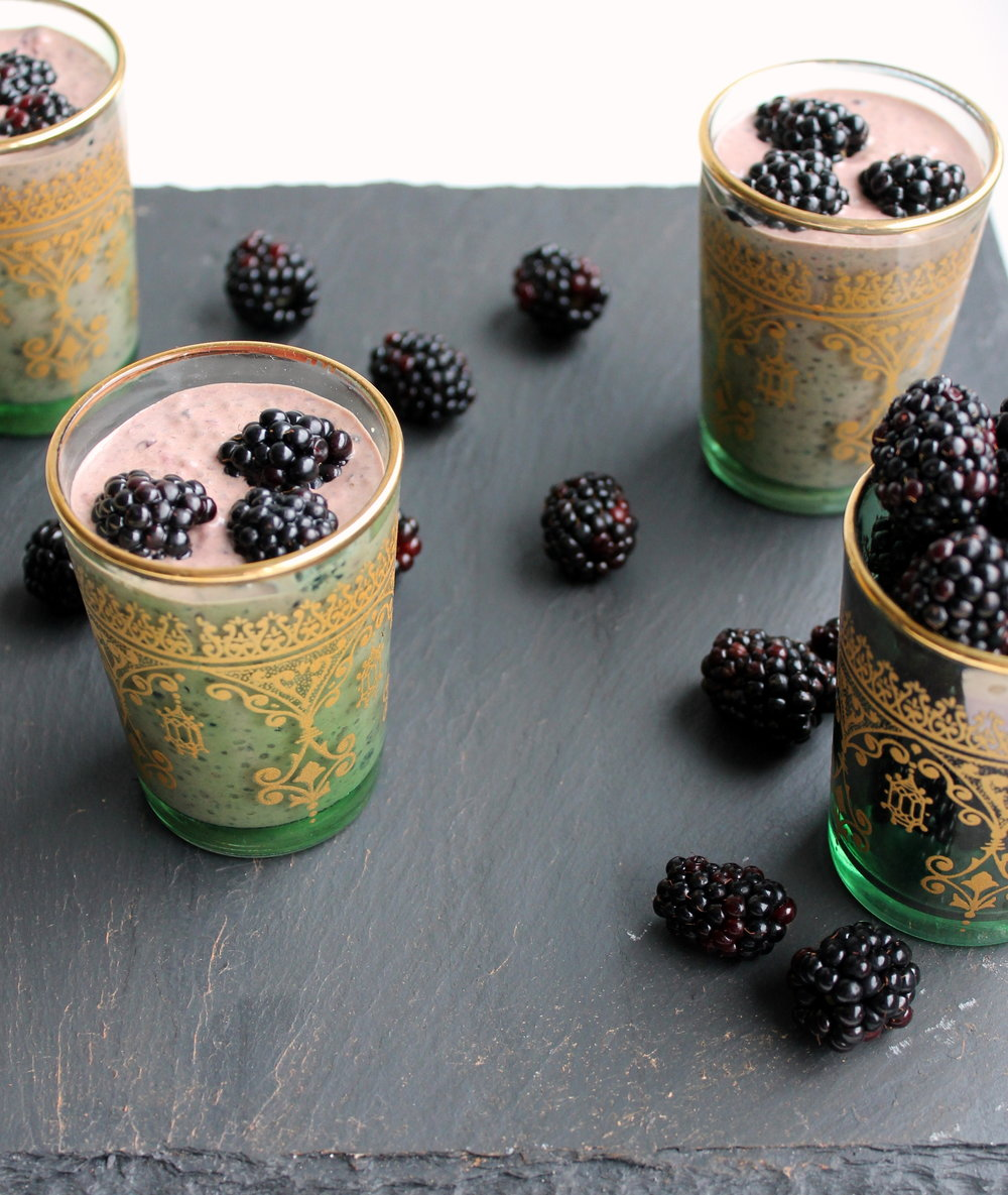 Smashed Blackberry Chocolate Chia Pudding