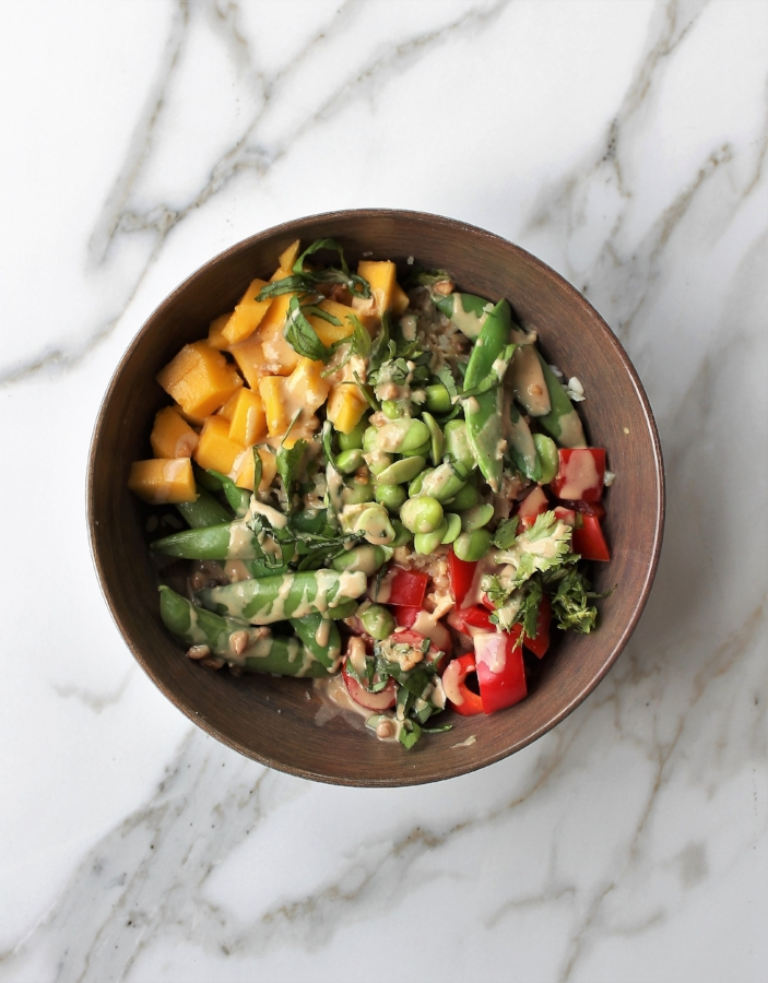 Mango Edamame Veggie Bowl for simplified weeknight meal planning