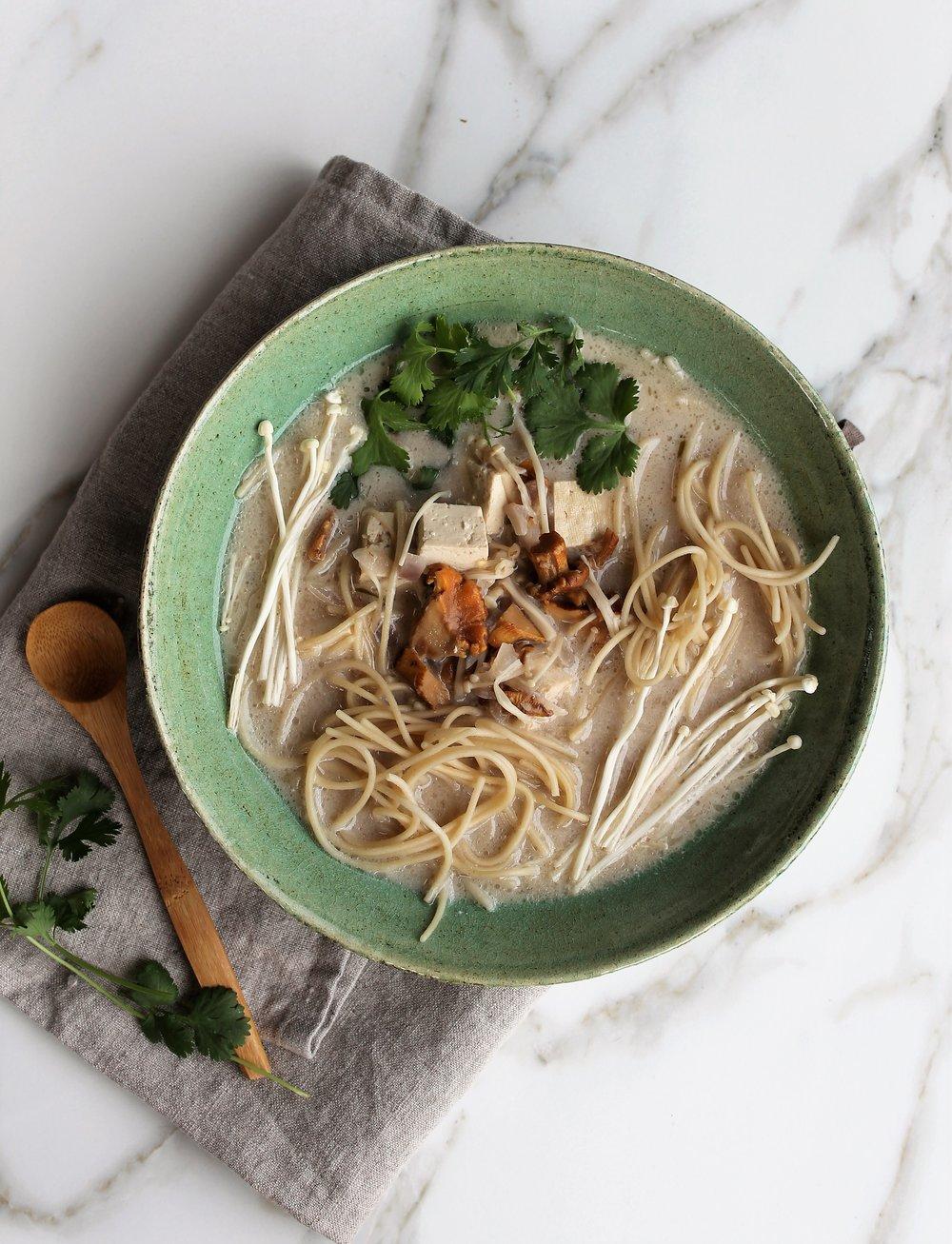 Coconut Mushroom Noodle Soup