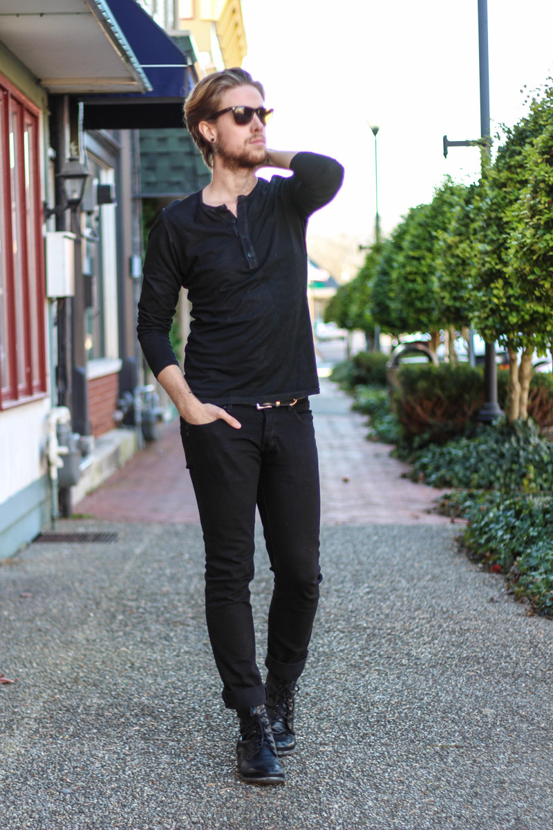 "Black leather shoes with black jeans to give a ""taller"" look."
