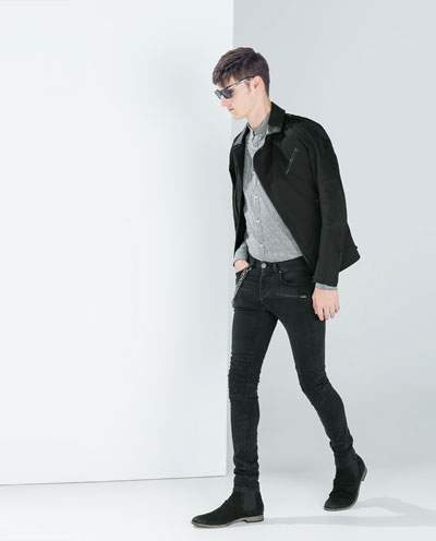 """taller"" look with Black skinny with hi cut black suede bucks."