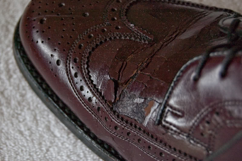 An example of corrected grain leather cracking.