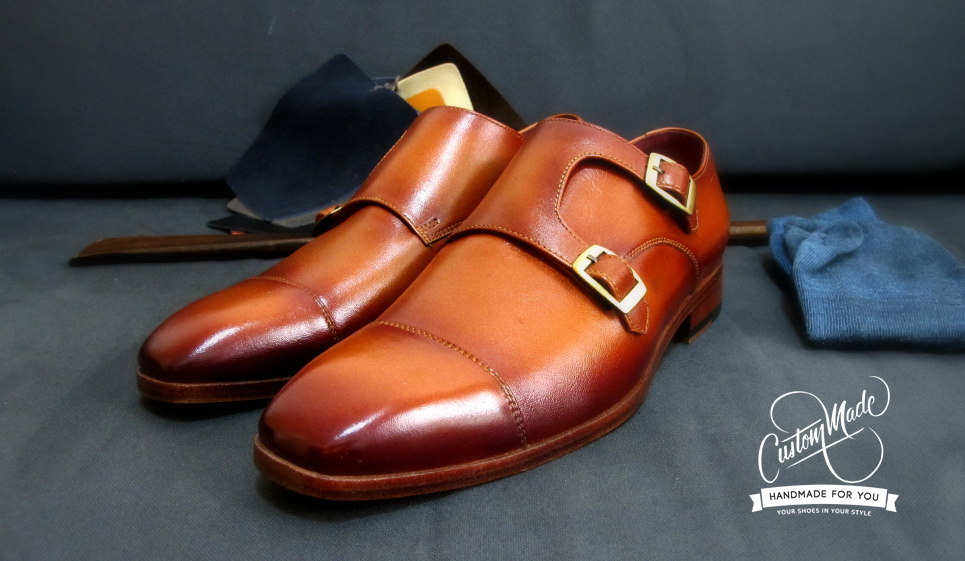 Tan Burnished Double Monks Shoes - stylish (By  CustomMade Shoes)