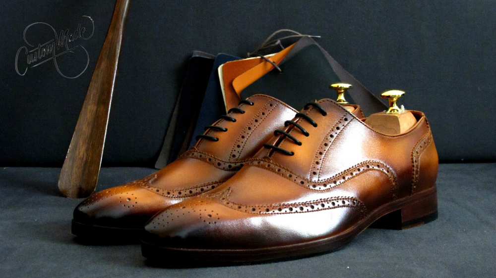 Tan Patina full brogues - Stylish (Perfect with navy blue and grey suit) - CustomMade Shoes