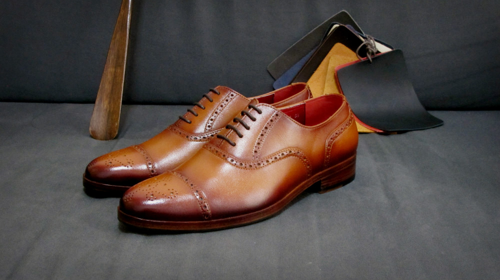 CustomMade's Captoe Brogue. See how there are different leather parts stitched together to form the shoe.
