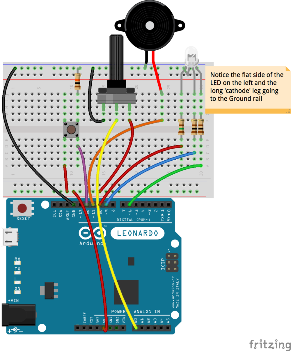 Example circuit with Fritzing showing the limitations of breadboard view!