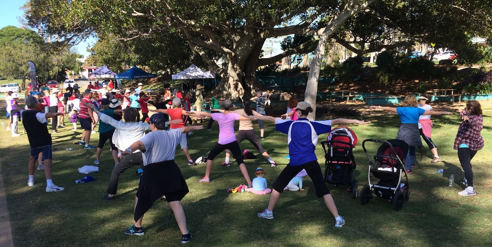 Cool down yoga following the Scarborough foreshore walk on May 8th