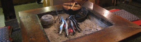 Traditional indoor cooking fire